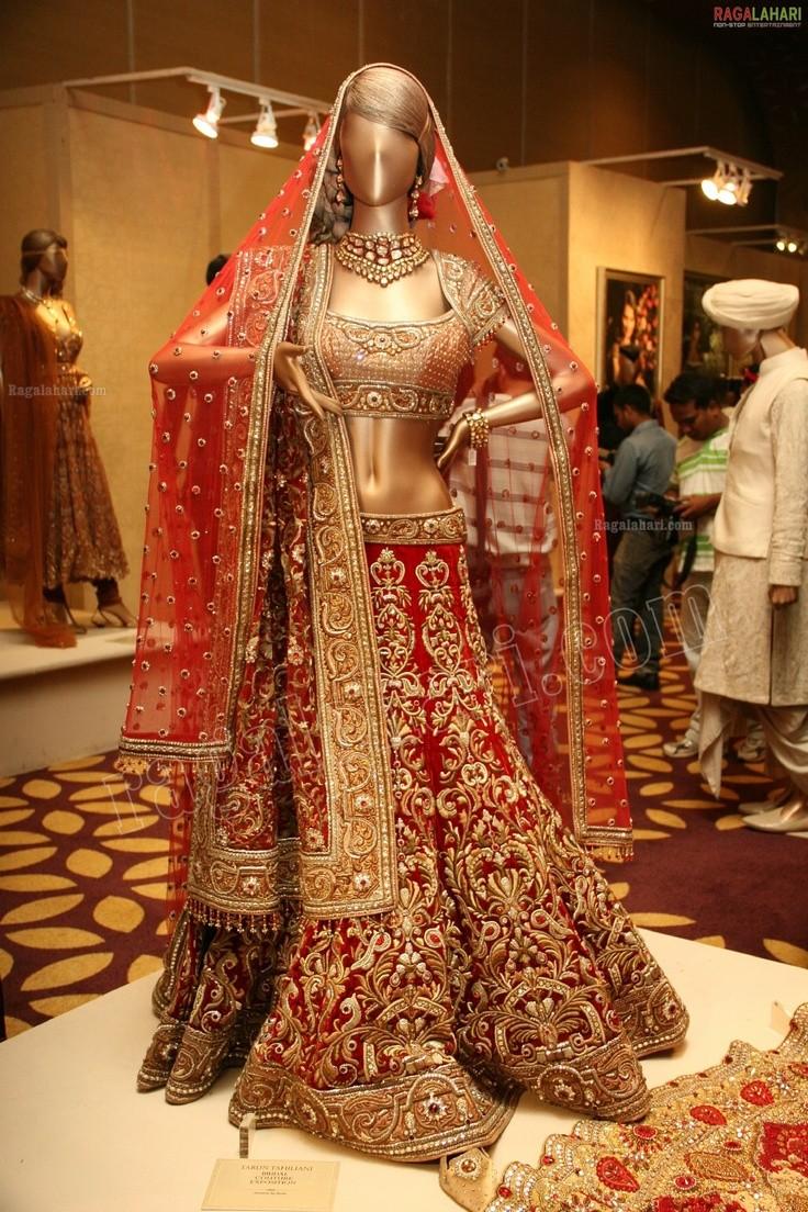 Astonishing Hot Red Heavy Work Embroidered Designer Bridal