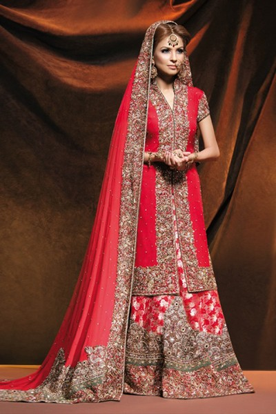 Riveting red designer bridal lehenga based heavy work for Asian red wedding dresses