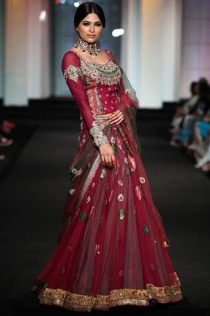 Eye popping Maroon designer lehenga with silver embroidery