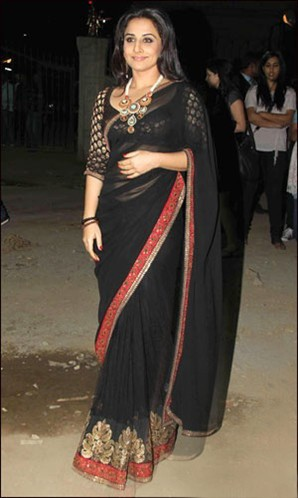 Graceful  black bollywood saree based on  embroidery & Border work