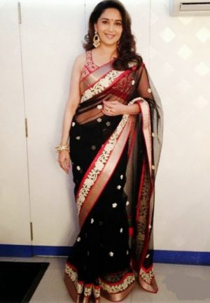 Be centre of attention by wearing this Dark Blue Chiffon Base designer bollywood Saree