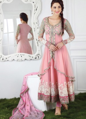 Delightful Peach party wear Anarkali net fabric Churidar Kameez