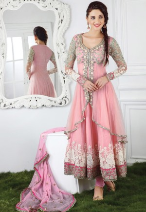 Delightful Peach party wear Anarkali net fabric Churidar Kameez