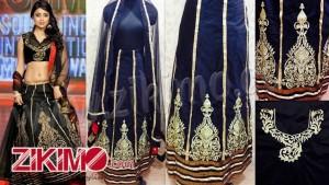Shriya Saran Black Net Embroidery Work lehenga