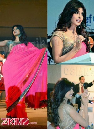 Priyanka Chopra in Pink saree