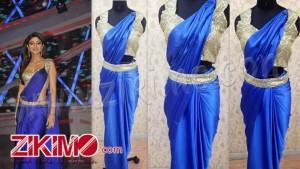 shilpa shetty blue saree gown