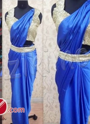 shilpa shetty blue saree gown