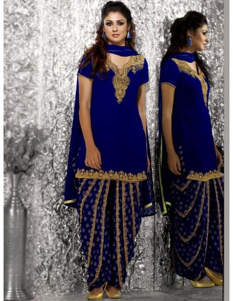 e34222f235 Elite Blue Georgette Punjabi Patiala Salwar Suit