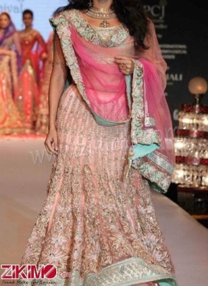 A Glamorous Look Pink Net Zardozi Embroidered Bridal Lehenga