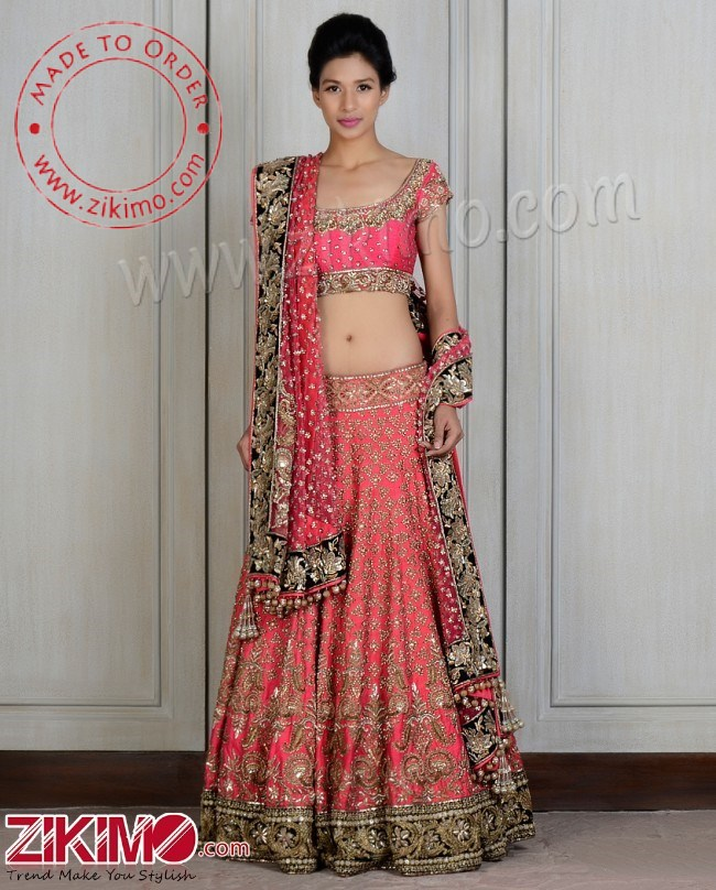 241007a088 Pretentious Georgette Embroidered Pink Bridal Lehenga With Hand Work