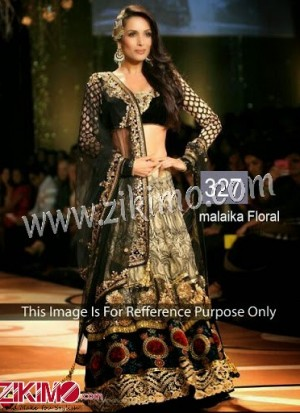 Malaika Arora Khan Black Net Party Wear Lehenga