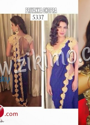 Priyanka chopra Wearing Georgette Bollywood Replica Blue Embroidered Saree