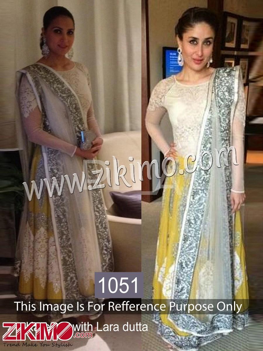 Kareena Kapoor Cream Yellow floral Bollywood Replica Gown