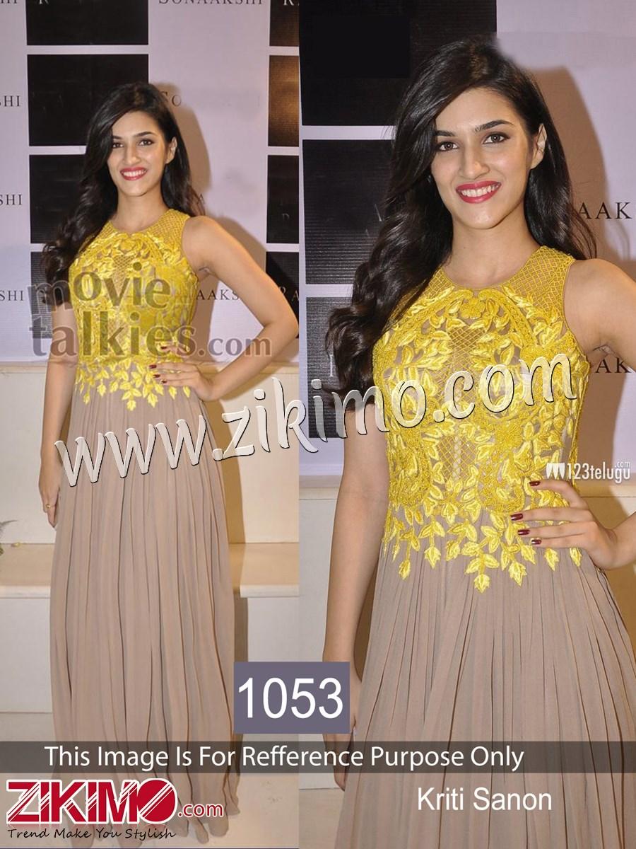 Kirti Sanon Grey And Yellow Georgette Bollywood Replica Dress