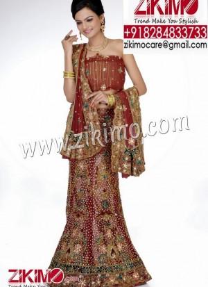 Maroon Bridal Net Fabric Lehenga with stones and zari work