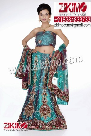 Amiable Blue Indian Ethnic Wedding Lehenga with beads, cutdana work