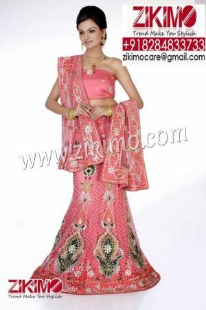 Splendid Pink With Green Embroidery work Indian Wedding Lehenga having beads, cutdana work