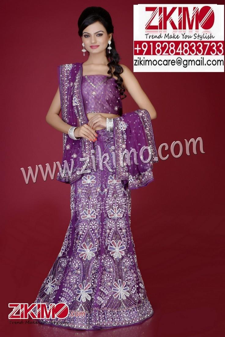 Sensational Purple With White Embroidered Indian Wedding Lehenga Having Beads Cutdana Work