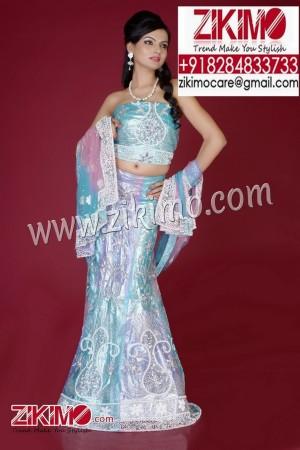 Breathtaking Blue Indian Wedding Lehenga having beads, cutdana work