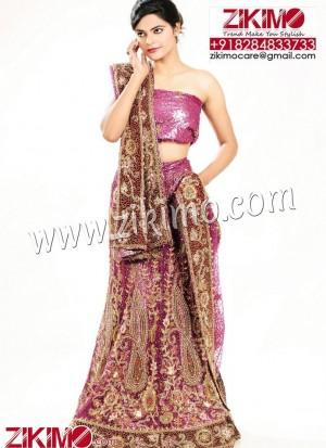Purple Wedding Lehenga with Jarkan chain golden work