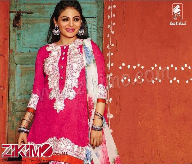 Sahiba Neeru Bajwa Punjabi Patiala Pink Floral Printed ...