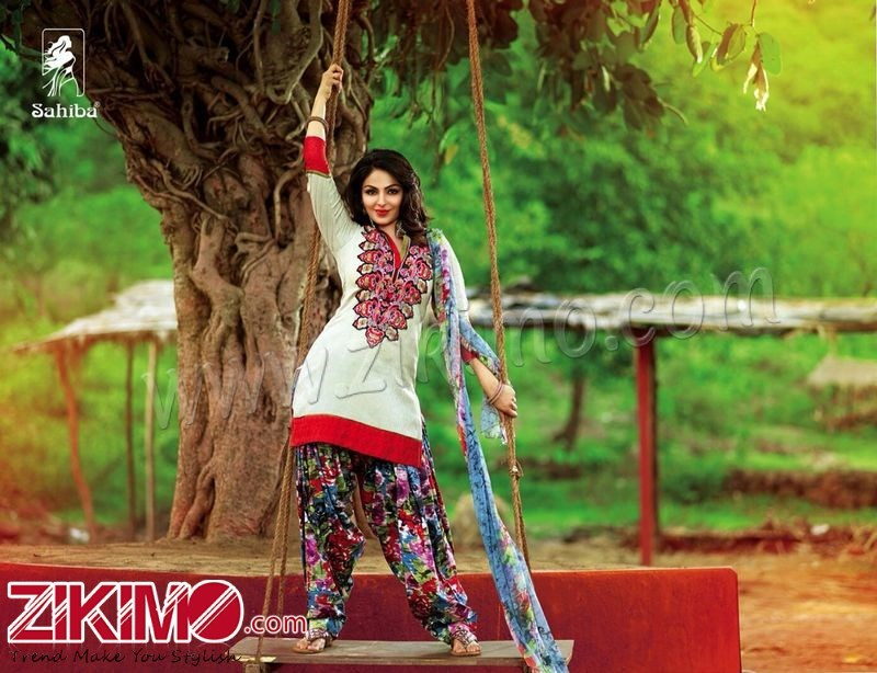 Sahiba Neeru Bajwa Punjabi Patiala Off White Floral ...