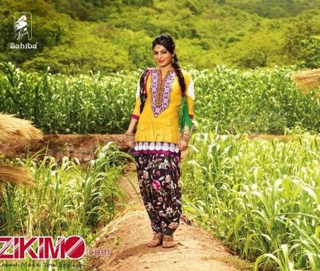 Sahiba Neeru Bajwa Punjabi Patiala Yellow Floral Printed ...
