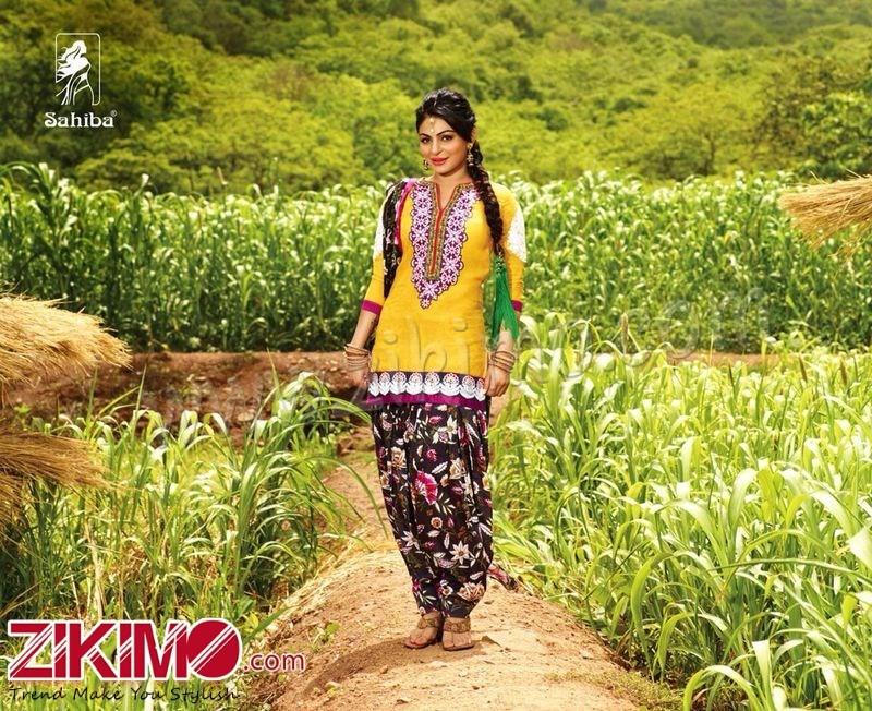 Sahiba Neeru Bajwa Punjabi Patiala Yellow Floral Printed Salwar Suit 1