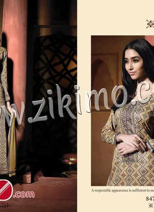 Butterfly RuddyBrown Printed Pure Satin Cotton with Work Chiffon Dupatta Semi-stitched Party Wear/Daily Wear Straight Suit 847