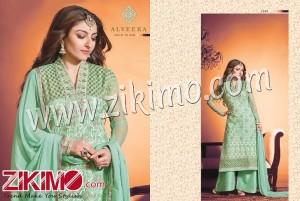 Hiba Alveera Soha Ali Khan Embroidered Georgette Pista Color Semi-stitched Straight Suit 1304