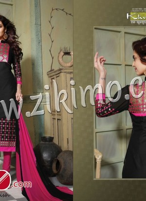 Khushika Hoor Black Magenta Pure Cotton Straight Suit 6007
