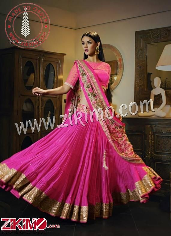 b0f6c4fae4 Pretty Pink Flared Lehenga Choli With Printed Dupatta ...