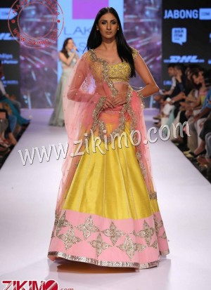0aa02ad519 Baby Pink And Yellow Raw Silk Contrast Pretty Embroirdered Lehnega choli  with Pink Dupatta