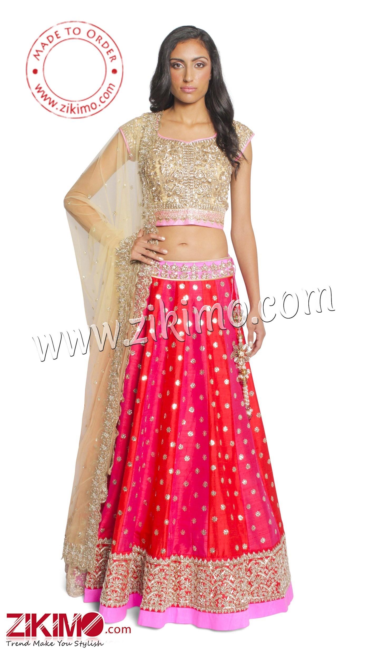Red And Pink Flared Indian Wedding Lehenga Choli With Matching Dupatta