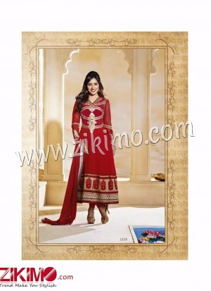 Maroon Embroidered Georgette Anarkali Semi-stitched Suit with Chiffon Dupatta