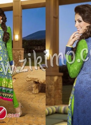 Vipul LimeGreen and RoyalBlue Georgette Embroidered Chiffon Dupatta Semi-stitched Straight Suit 6116