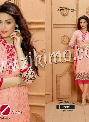 Your Choice Skin and Pink Pure Dyeble Georgette Embroidered Un-stitched Party Wear Straight Long Suit 1909