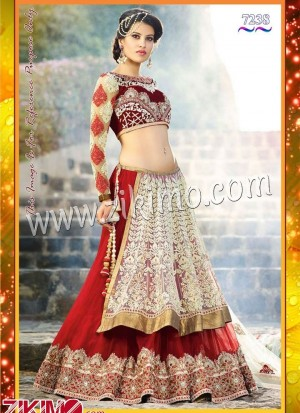 Zikimo 7237 Embroidered Bridal Wear Red and Cream Velvet Lehenga Choli with net dupatta