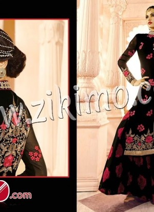 Arjaan Georgette Black Resham Work Georgette Embroidered Work Wedding Wear A Line Lehenga Choli 602A