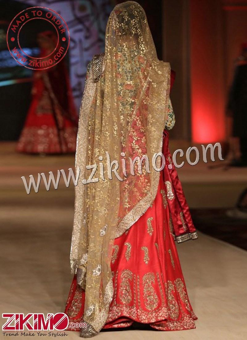 52aee99fd0 Zikimo Bajirao Mastani Indian Bridal Wear Red Lehenga with Kalgi & Paisley  Design