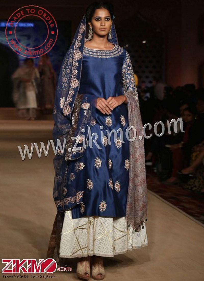 95bdcd8d2d Zikimo Bajirao Mastani Indian Bridal Wear Indigo Kurta with Sharara Pants