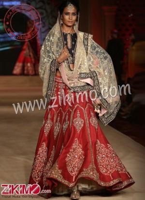 6c372cce59 Zikimo Bajirao Mastani Indian Bridal Wear Red Lehenga with Zardozi  Embroidery