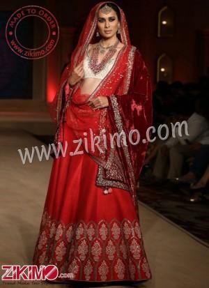 e3d22cad18 Zikimo Bajirao Mastani Indian Bridal Wear Red Lehenga with Floral Pot Design