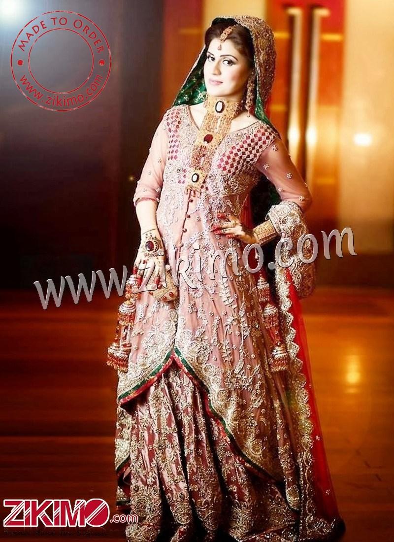 cd1476de2bf1 Zikimo Red   Pink Indian Bridal Lehenga with Long Choli