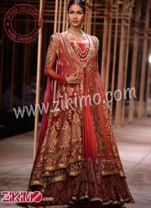 2457cbb8cb Zikimo Red Mughlai Indian Bridal Anarkali Lehenga with Antique Gold  Embroidery
