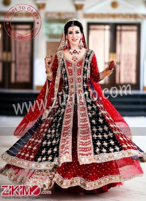 31df46c5fb Zikimo Black & Red Net Indian Bridal Lehenga With Sequins Work   Page 3