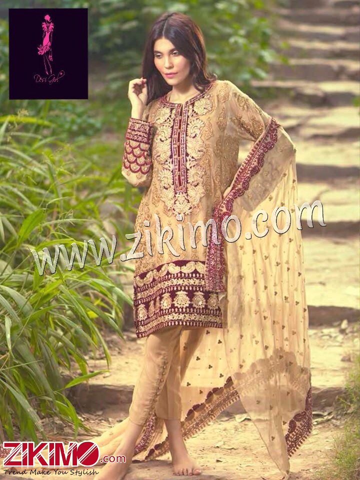 a6abf7734a Zikimo 101 Desi Girl Golden Tan Embroidered Georgette Pants/Palazzo Pakistani  Suits ...