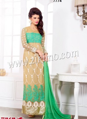 Pure Georgette Beige and Green Party /Wedding Wear Straight Long Suit