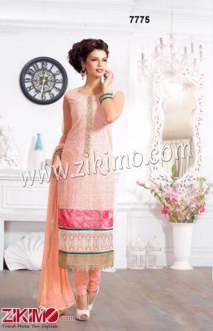 Pure Georgette Light Orange Party /Wedding Wear Straight Long Suit