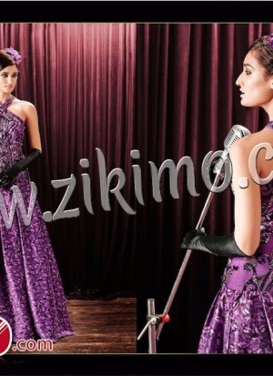 Zikimo Heroine 5084 Purple SIlk Chiffon Embeoidery Work Wedding Wear Anniversary Evening Prom Gown